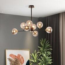 Lustre para sala de estar jantar cozinha nordic led lâmpada vidro branco moderna villa hall decoração do teto pendurado luminária casa