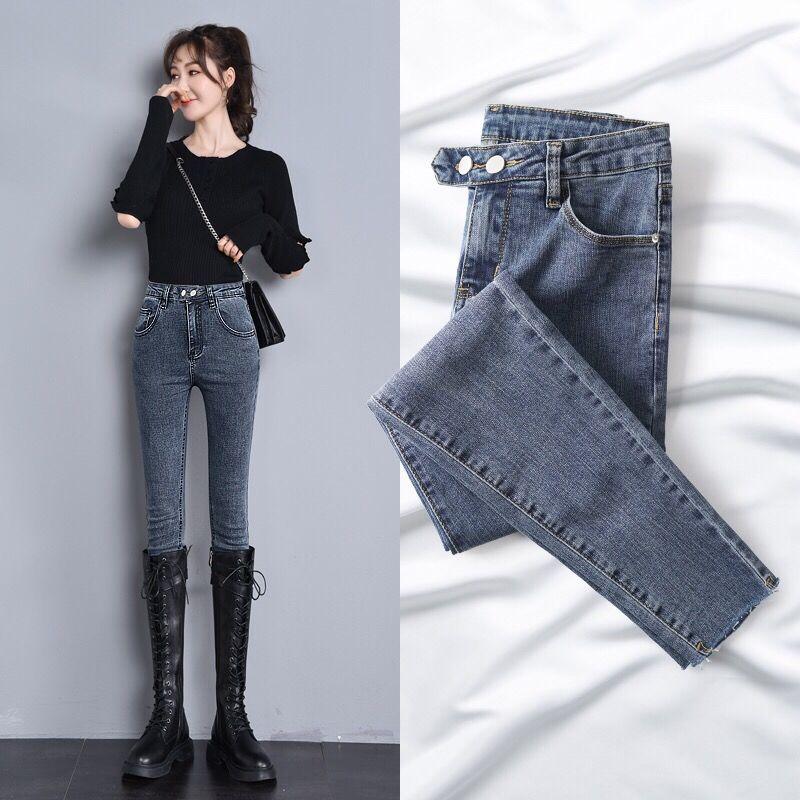 New 2 Buttom Slim Jeans For Women Skinny High Waist Jeans Woman Blue Denim Pencil Pants Slim Elastic Jeans Pants