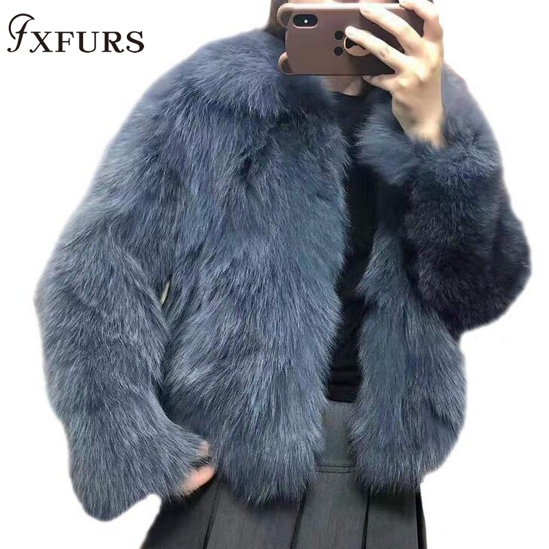 Jackets Outwear Fur-Coats Short Winter Women Luxury Genuine Fashion Garments Fox-Fur