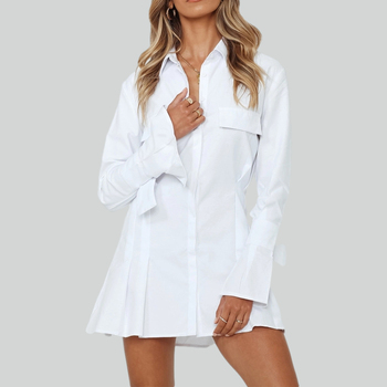 Spring White Short Pleated Shirt Dress For Women Casual Long Flare Sleeve A Line Office Dress Female Solid Autumn Mini Vestidos spring long sleeve ruffles dress for women solid v neck casual loose mini dress button female autumn a line office vestidos