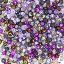 Isywaka roxo multicolorido 4*6mm 50 pces rondelle áustria facetado grânulos de vidro cristal espaçador solto contas redondas para fazer jóias