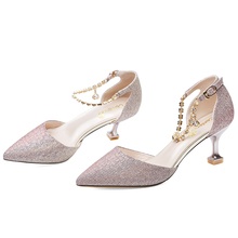 цена на Fashion Women Pumps Pointed-toe Sandals Summer High-heeled Women Shoes Buckle Thin Heels Women Pumps Sweet Shoes 3-34