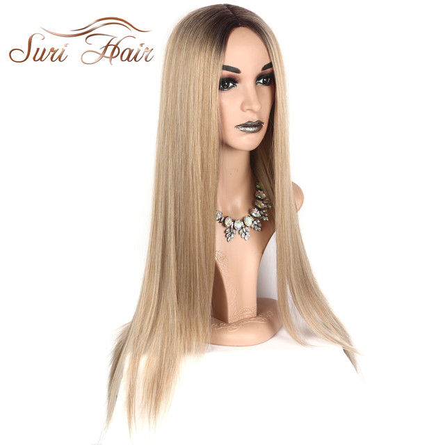 Suri Hair Long Straight Ombre Pink Heat Resistant Synthetic Two Tone Wigs For Women 30 inch Black Brown Blue hairpiece 7 colors 5