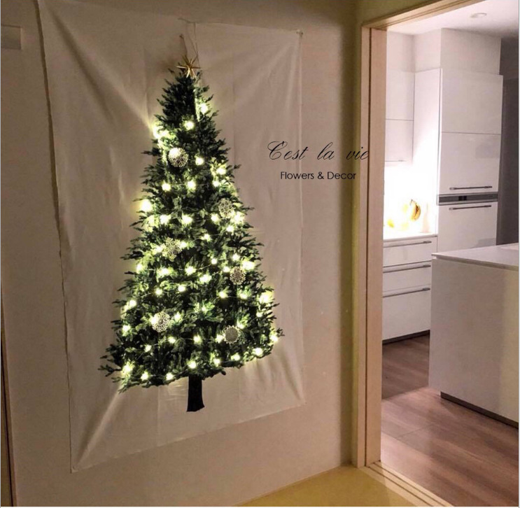 Ins Christmas Tree Pine Hang Cloth Wall Decoration Cloth Small Fresh Holiday Background Cloth Simple Tapestry