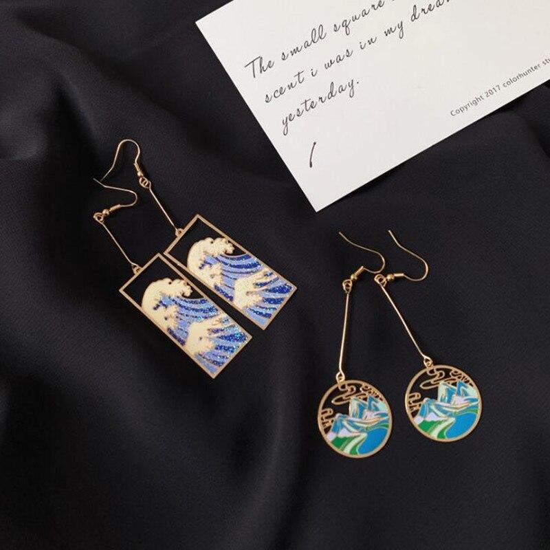 Timlee E134  New Originality Retro Drip Oil Sea Wave Geometry Round Alloy Long Dangle Earrings, Popular Jewelry Wholesale