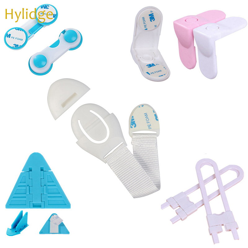 Hylidge Multifunctional Child Protection Cabinet Locks & Straps Plastic Lock Protection Of Children Locking From Doors Drawers