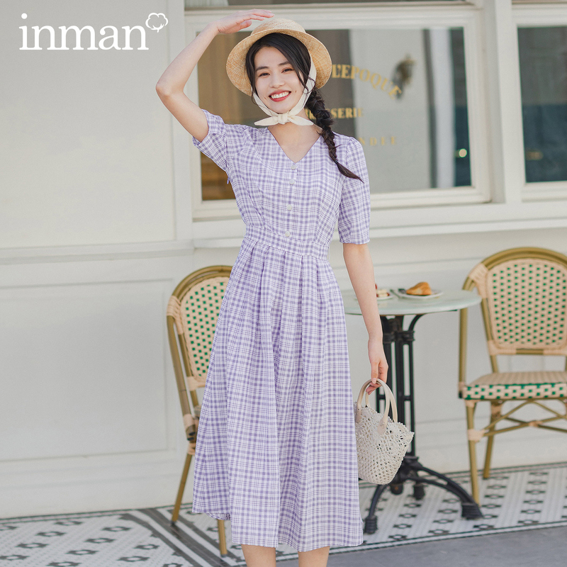 INMAN Summer New Arrival Retro French Style Vintage Butterfly Bow Tie Waist Plaid Lantern Dress