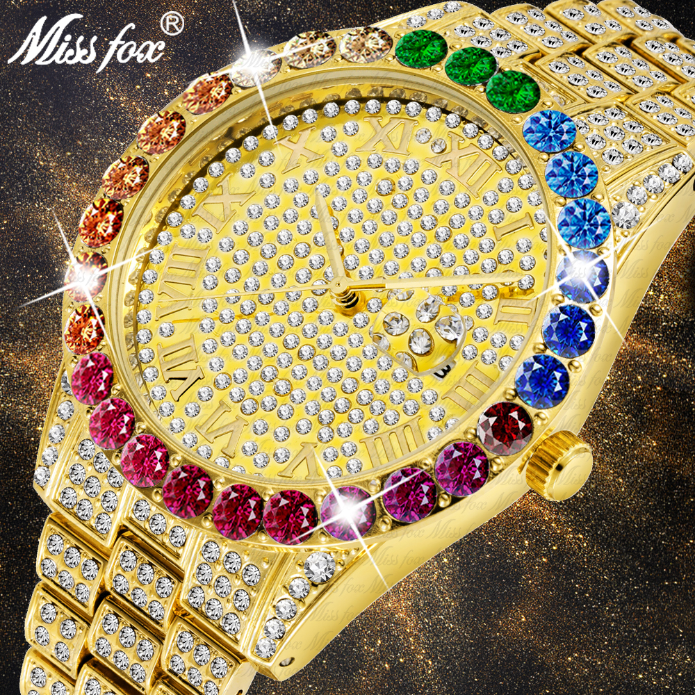 New Hot MISSFOX Big Rainbow Diamond Luxury Mens Watches Top Luxury Brand 18K Gold Men Watch Luxurious Iced Out Quartz Wristwatch