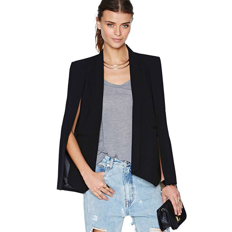 Women Long Sleeve Lapel Cape Casual Split Poncho OL Blazer Black White Women Businee Suit Office Lady Fall Clothing Femal