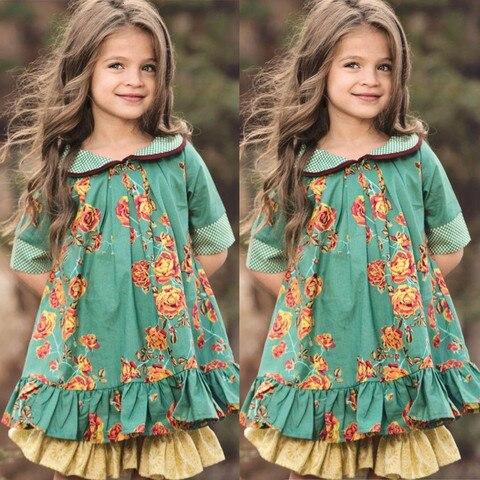 estilo britanico retro vestido princesa festa de flores para criancas vestidos