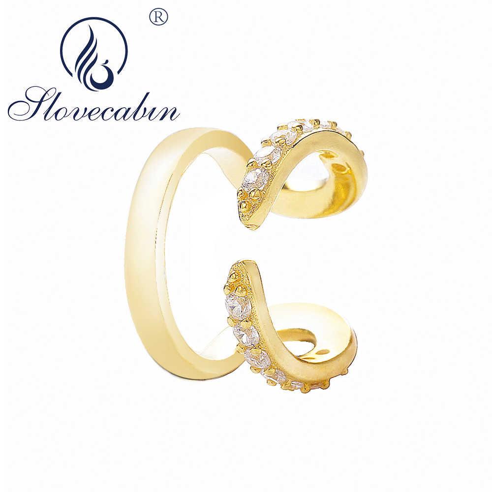 Slovecabin Asli 925 Sterling Silver Gold CZ Kristal Manset Telinga Mujer Femme Bijoux Merek Wanita Hadiah Sterling Perhiasan Perak
