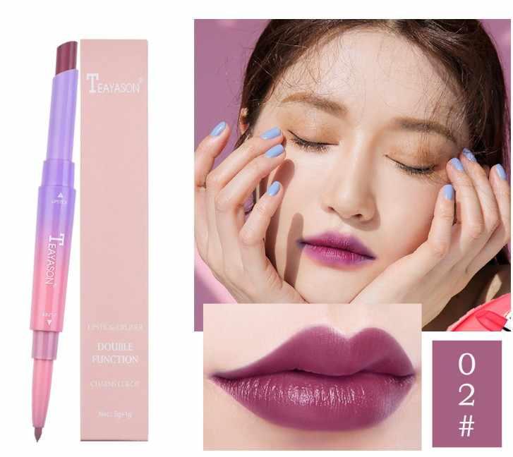 12 couleurs Double rouge à lèvres brillant longue durée mat antiadhésif tasse pas de rouge à lèvres fondu avec une Coloration crème et une beauté brillante