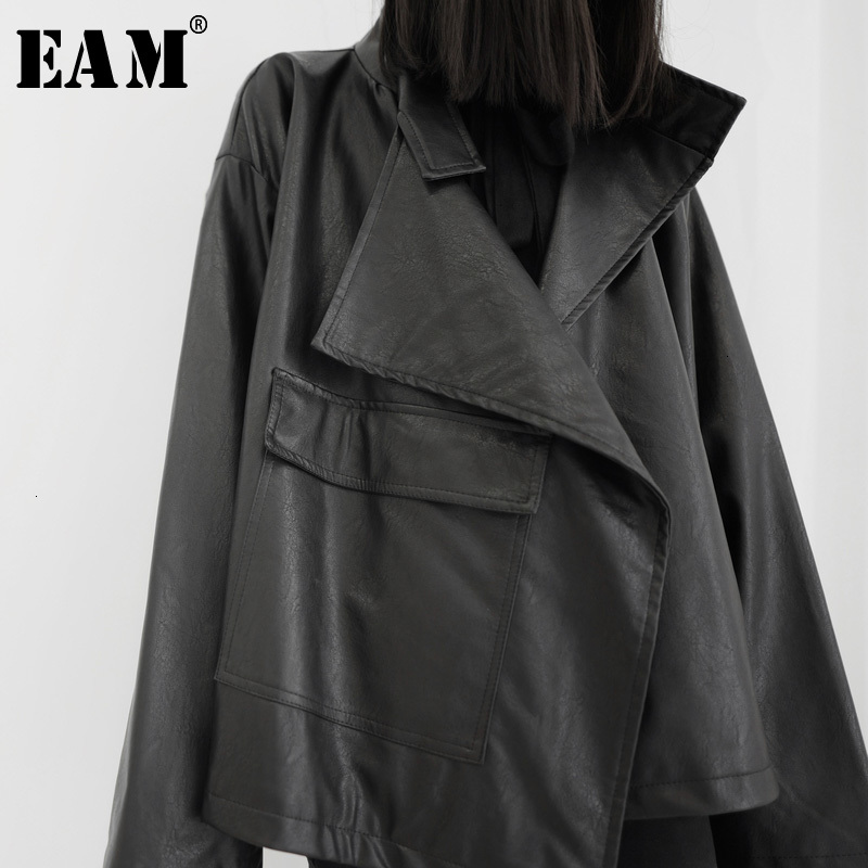 [EAM] Loose Fit Big Size Asymmetrical Pu Leather Jacket New Lapel Long Sleeve Women Coat Fashion Spring Autumn 2020 19A-a543