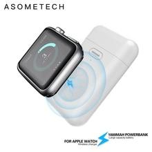 Cargador inalámbrico de 1000mAh, Mini banco de energía para i watch 1 2 3 4 5 6, batería externa fina magnética portátil para Apple Watch