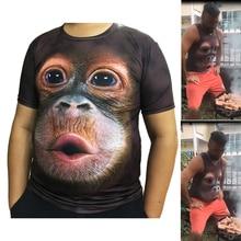 Blouse T-Shirt Monkey Short-Sleeve Gorilla-Print Summer Novelty O-Neck Tops Halloween-Vest