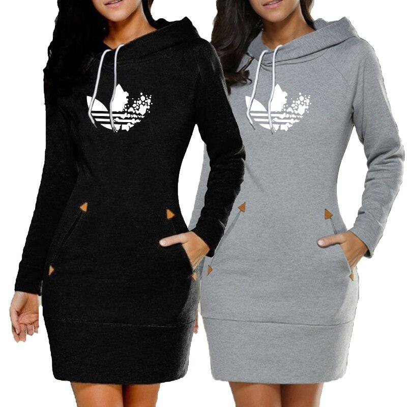 2019 New Women Printed Hoodie Dress Slim Warm Long Sleeve Hoodie Dress Casual Sweatshirts