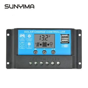 Regulator ładowania słonecznego SUNYIMA 24V 12V 15A samochodowy wyświetlacz lcd Regulator kolektora kolektora bateria słoneczna podwójne wyjście przełączające USB tanie i dobre opinie Solar Panel None