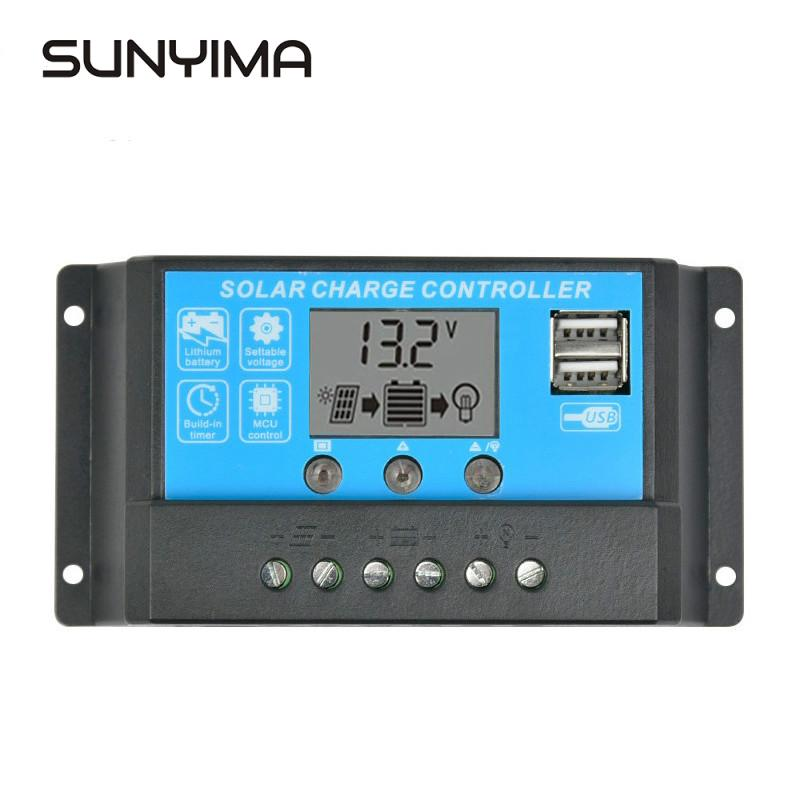 SUNYIMA Solar Charge Controller 24V 12V 15A Auto LCD Displyer Collector Regulator Solar Panel Battery Dual USB Switching Output