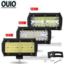 120W 144W Led Light Bar 7 Inch Offroad Car Lights 4x4 Work for 12V 24V Motorcycle Jeep Tractor Boat Trucks ATV Trailer