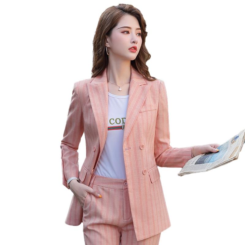 Candy Pink Office Work Formal Pant Suit Women's Business Lady OL Uniform 2 Piece Set Blazer Trouser Jacket Suits Plus Size 5XL