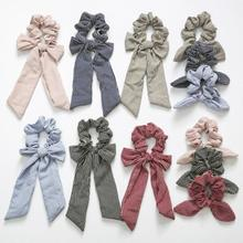CN Knotted Striped Scrunchies Girl Elastic Hair Bands Women Ponytail Holder Rope Accessories
