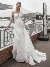 Новое дизайнерское кружевное свадебное платье русалки с отвесным