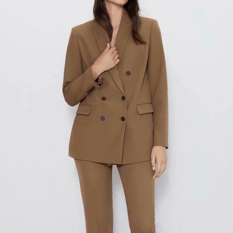 Autumn And Winter Women's Blazer Suit Casual Solid Color Double-breasted Pocket Decorative Suit