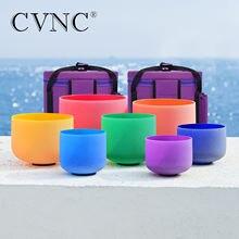 CVNC – ensemble de bols chantants en cristal de Quartz coloré givré, 7 à 12 pouces, notes de Chakra, avec 2 étuis gratuits, CDEFGAB