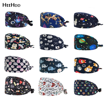 Lab work frosted hat Wholesale prices Breathable cotton printing scrub hat Adjustable Scrub Cap Nutritionist cap beautyScrub Cap lab series invigorating face scrub
