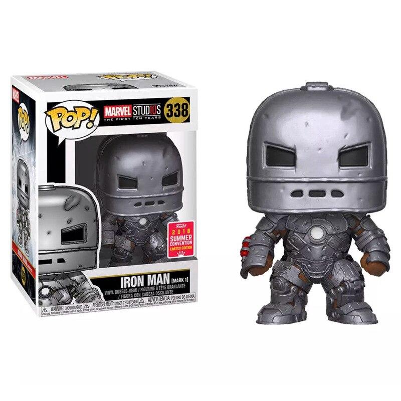 Funko POP Marvel The Avengers IRON MAN 338# Mark I Marvel Studios Vinyl Bobble Head Action Figures Limited Collection Model Toys