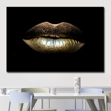 modern home single African women's gold lip art canvas mural decoration spray painting oil painting canvas painting posters(China)