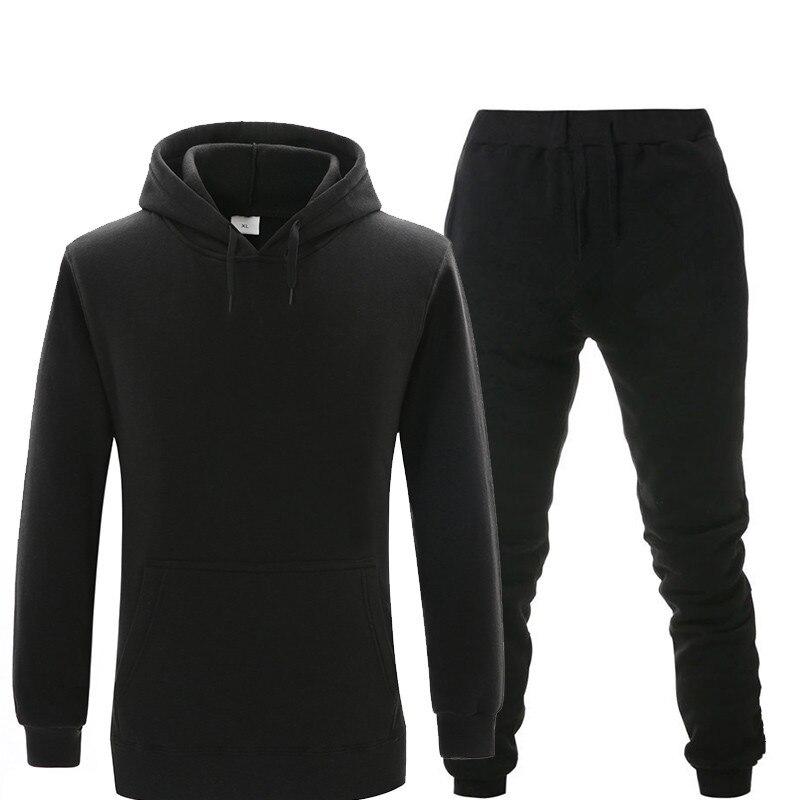 New Hoodie Suit Sportswear Men's Fleece Warm Sweatshirt Solid Color Jogging Men's Sportswear Sports Suit Homme Two-piece Jacket