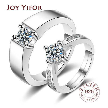 New Fine Rings Jewelry 925 Sterling Silver Ring Lover Zircon Adjustable Wedding Ring for Women Ladies Men Ring Silver
