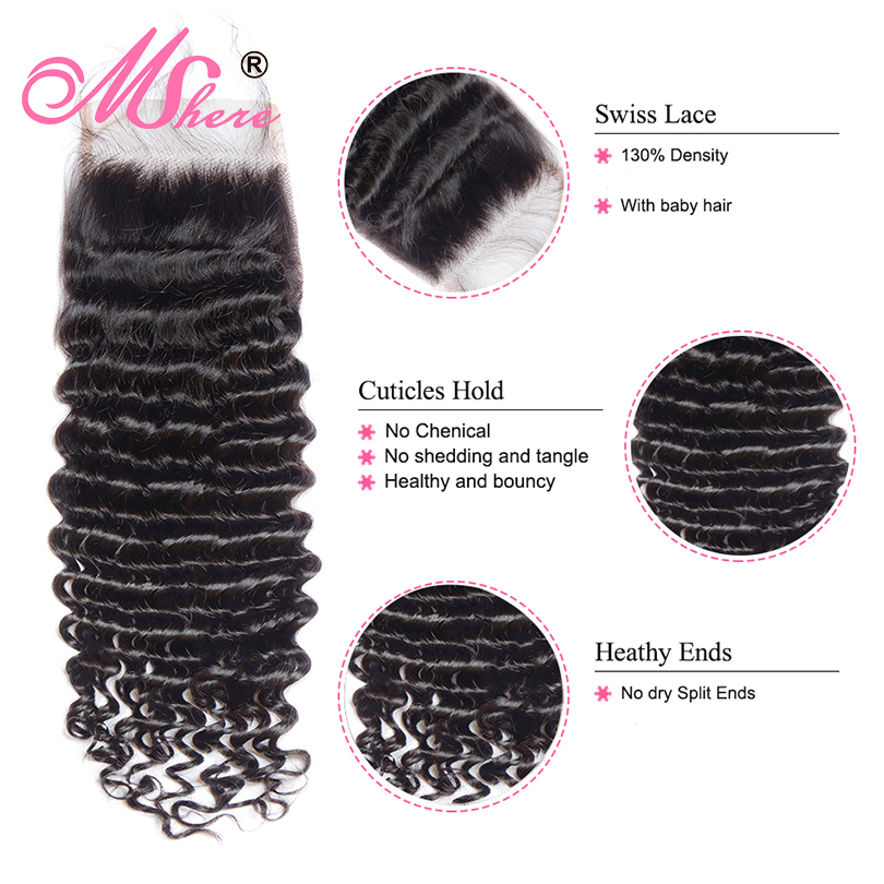 Mshere 4PCS LOT Peruvian Deep Curly Wave 3 Bundles With Closure Non Remy Hair Free Part Mshere 4PCS/LOT Peruvian Deep Curly Wave 3 Bundles With Closure Non Remy Hair Free Part Lace Closure With Human Hair Bundles 1B#