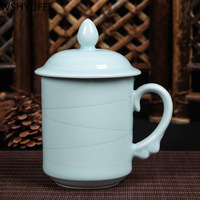 New style Longquan celadon teacup with lid Kung Fu flower teacup Travel convenience tea set Conference office water cup WSHYUFEI
