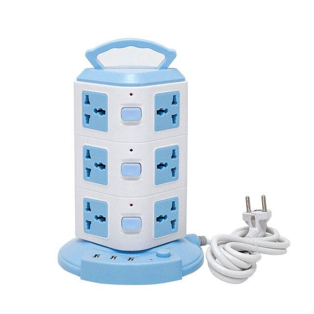 Tower Type Overload Protection Desktop Extension Socket Power Strip Multiple AC Sockets EU UK AU US Plug Universal Outlet
