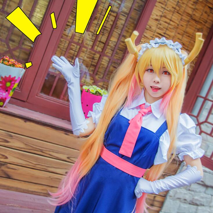 Tohru Cosplay Clothing Wig Sets New Fashion Girls Anime Dress Miss Kobayashi's Dragon Maid Kanna Cosplay Costume For Women