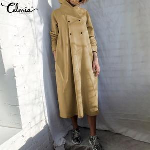 2020 Winter Dress Celmia Women Turtleneck Vintage Sweatshirt Dresses Plus Size Solid Buttons Casual Pockets Long Vestidos Robe