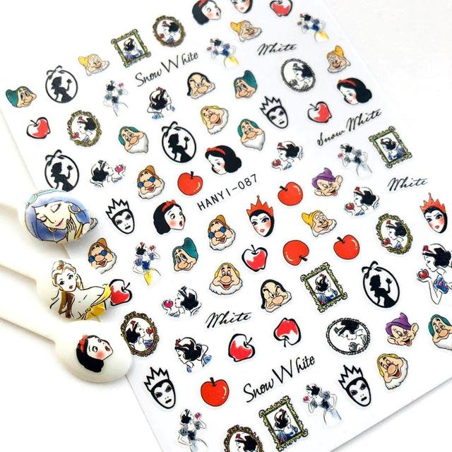 Hanyi Serie Sakura Bloem HANYI 87 Prinses 3d Nail Art Stickers Decal Template Diy Nail Tool Decoraties