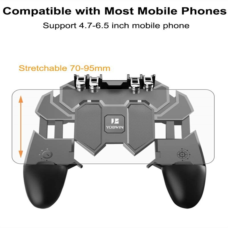 YOBWIN 4 Tigger Mobile Controller for PUBG Mobile Gamepad 6 Fingers  Joystick Remote Phone Controller for IOS Andriod Phone