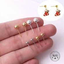 Серьги гвоздики из серебра s925 пробы шарики шармы «сделай сам»