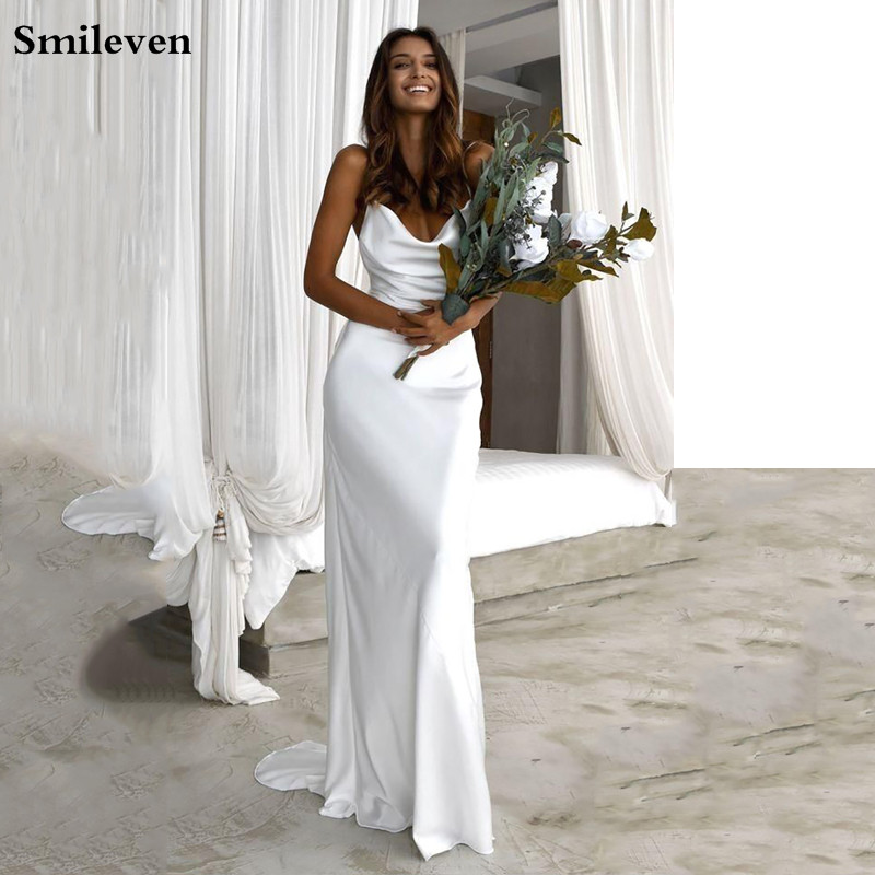 Smileven Beach Mermaid Wedding Dress 2020 Boho Appliques  Spaghetti Straps Vestido De Noiva Sweep Train Bridal Gowns