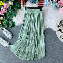 NiceMix Fashion Irregular Ruffles Autumn Midi Long Winter Skirt Cake Pleated Women High Waist Casual Falda Asymmetrical Skirts(China)