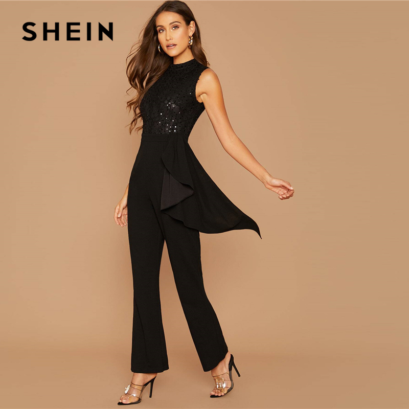 SHEIN Black Sequin Detail Lace Bodice Ruffle Trim Jumpsuit Women Autumn Sleeveless O-Neck High Waist Wide Leg Elegant Jumpsuits 2