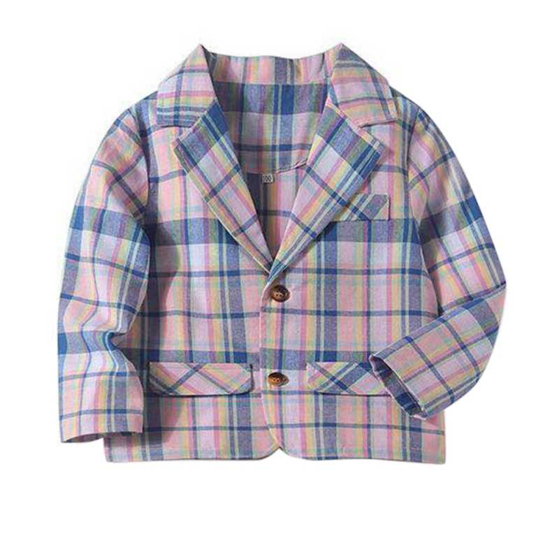 Spring-autumn Baby Kids Boy's  Coat Outfits Long-sleeve Stripe Gentlemen Top Infant Children Handsome Plaid Suits Clothes