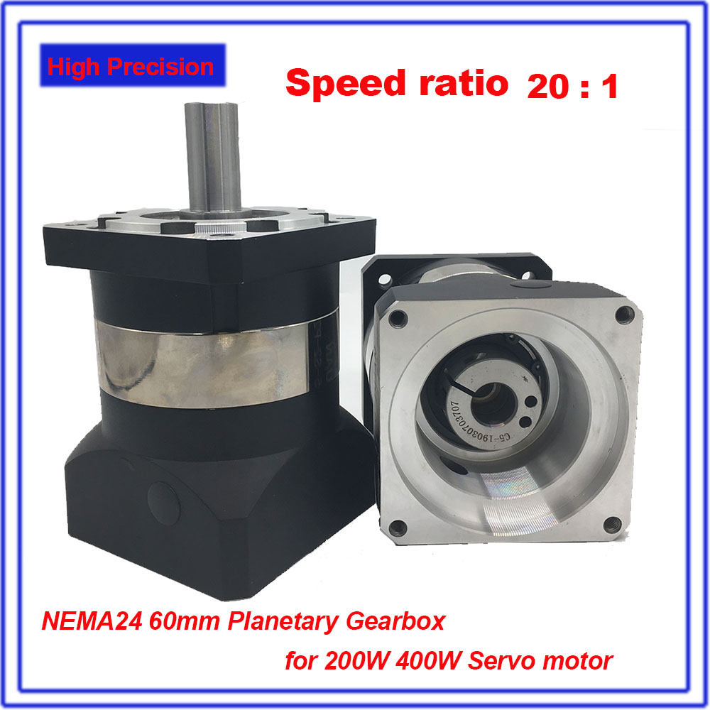 20:1 Gearbox NEMA24 60mm Planetary Reducer High Precision Mute 12Arcmin Backlash 14mm Gearbox Reducer for 200W 400W Servo Motor