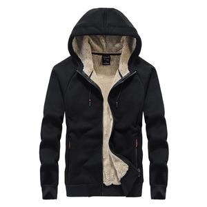 Image 5 - 2019 winter thick lambskin velvet hooded Sweatshirts casual men warm jackets coats hoodies streetwear one piece plus size L 8XL