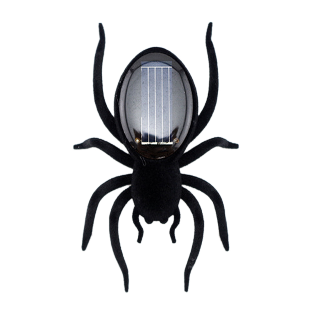 Funny Unique New Mini Kids Toy High Quality Black Durable Educational Robot Scary Insect Gadget Solar Power Spider Trick Toy
