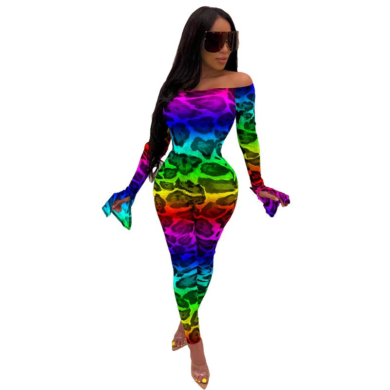 HAOYUAN Sexy Leopard Mesh Sheer Rompers Womens Jumpsuit Fashion Nova One Piece Outfit Club Body Long Sleeve Bodycon Jumpsuit
