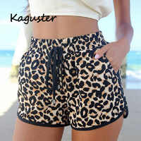 2018 neue Sommer Hot Shorts Leopard Lace Up Hohe Taille Elastischer Baumwolle Kurze Frauen Strand Casual Shorts